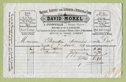 """JOINVILLE  (52) : """" MATERIEL AGRICOLE Et ARTICLES DE CHASSE - DAVID-MOREL """"  1878 - 1800 – 1899"""