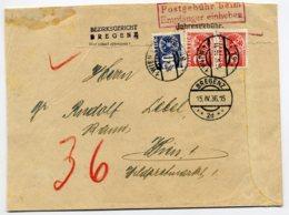 PORTO Mi. 161 (2 Stück) + 168 Auf Gerichtsbrief BREGENZ-WIEN - Postage Due