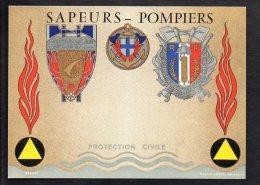 Métier / Sapeurs Pompiers / Protection Civile / Composition Héraldique D' Insignes De Robert Louis - Sapeurs-Pompiers