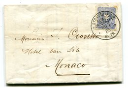 ALSACE De STRASBOURG Pour MONACO LAC Du 18/07/18885 A En Tête De La Brasserie GRUBER - 1877-1920: Periodo Semi Moderno