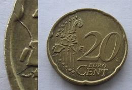 N. 69 ERRORE EURO !!! 20 CT. 2002 ITALIA FRATTURA DI CONIO !!! - Varietà E Curiosità
