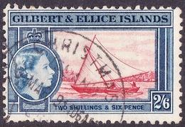 GILBERT & ELLICE ISLANDS 1956 QEII 2/6 Scarlet & Deep Blue SG73 FU - Gilbert & Ellice Islands (...-1979)