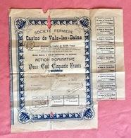 Casino De Vals-Les-Bains (Ardèche) Action Nominative 15 Juin 1909 - Casino
