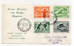 Somalia A.F.I.S. - 1958 - Busta FDC - Serie Sportiva - Con Doppio Annullo Filatelico - (FDC14756) - Somalia (1960-...)