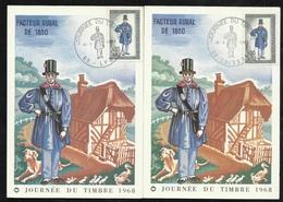 2 FDC Cartes  Maximum Premier Jour Soissons Et Lyon Le 16/03/1968 N°1549 Journée Du Timbre TB Soldé à Moins De  20 %  ! - FDC