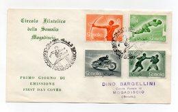 Somalia A.F.I.S. - 1958 - Busta FDC - Serie Sportiva - Con Doppio Annullo Filatelico - (FDC14757) - Somalia (1960-...)