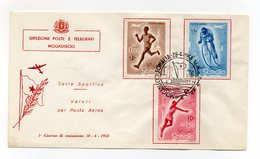 Somalia A.F.I.S. - 1958 - Busta FDC - Serie Sportiva - Posta Aerea - Con Annullo Filatelico - (FDC14759) - Somalia (1960-...)