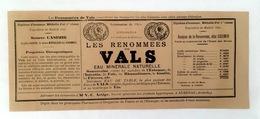 Vals Les Bains - Etiquette Eau Minérale Naturelle  Les Renommées De Vals Source Casimir - Etiquettes