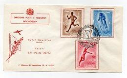 Somalia A.F.I.S. - 1958 - Busta FDC - Serie Sportiva - Posta Aerea - Con Annullo Filatelico - (FDC14760) - Somalia (1960-...)