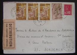 Poste Aux Armées 1974 Avec étiquette Distribution Par Porteur Spécial - Marcophilie (Lettres)