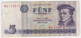 Germany DDR P 27 - 5 Mark 1975 - Fine+ - [ 6] 1949-1990 : RDA - Rép. Dém. Allemande