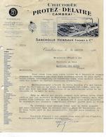 Facture 1946 / 59 CAMBRAI / PROTEZ DELATRE / Chicorée / Pb Ravitaillement 88 Martigny GERARD - France