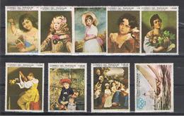 PARAGUAY:  1968  CENTENARIO  ARTE  PITTORICA  -  S. CPL. 9  VAL  N. -  MICHEL  1836/44 - Paraguay