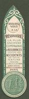 """09141 """"SEGNALIBRO - LA PRESERVATRICE ASSICURAZIONE - PARIS  - TIMBRO STUDIO TECNICO BIELLA - 1930"""" - Segnalibri"""