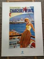 + AFFICHE BATEAU / PAQUEBOT Compagnie Maritime Des CHARGEURS REUNIS Tirage Limité à 1000 Ex DELMAS-VIELJEUX SDV (2) + - Affiches