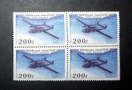 FRANCE POSTE AÉRIENNE 1954 N°31 BLOC DE 4 ** (PROTOTYPES. NORATLAS. 200F VIOLET ET OUTREMER) - Airmail