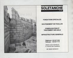 Publicité Solétanche Monaco Fondations Fouilles Consolidation Infrastructure - Publicités