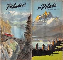 """09150 """"MT. PILATE ALT 2132 - SUISSE - PIEGHEVOLE 1950 - 11 FOTO B/N - ILLUSTRAZIONI A COLORI"""" ANIMATO. ORIG - Dépliants Turistici"""