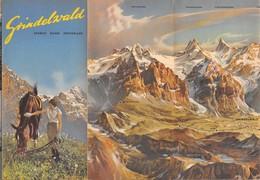 "09151 ""GRINDELVALD - SUISSE - PIEGHEVOLE 1950 - 6 FOTO B/N - 2 FOTO A COLORI - CARTINA TRIDIMENSIONALE"" ANIMATO. ORIG - Dépliants Turistici"