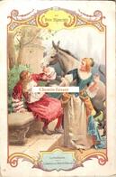 Grand Chromo AU BON MARCHE, Format 148x222mm - LA FONTAINE : L'âne Et Le Petit Chien - Scans Recto-verso - Au Bon Marché