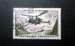 FRANCE POSTE AÉRIENNE 1960 N°41 OBL. (PROTOTYPES. L'ALOUETTE. 10,00 OLIVE, LILAS ET NOIR) - Poste Aérienne