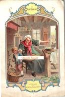 Grand Chromo AU BON MARCHE, Format 148x222mm - LA FONTAINE : Le Loup, La Mère Et L'enfant - Scans Recto-verso - Au Bon Marché