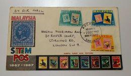 Kuching, Sarawak, Malaysia 1967 Nice First Day Cover To London - Malaysia (1964-...)