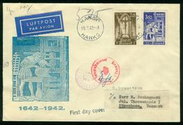 FD Finnland FDC 1942   MiNr 267-268   Bibelausgabe In Finnischer Sprache, Gelaufen Als Luftpost Brief Nach Dänemark - Finlandia