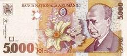 "ROMANIA 5000 LEI 1998 P-107b UNC WMK: ""BNR"" ITALIC [RO267b] - Roumanie"