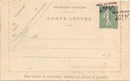 France Carte Lettre Semeuse Lignée 15 C Double Surcharge Taxe Reduite A 10 C - Entiers Postaux