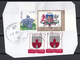 Lettonia 2015-2017-2019 Fiori Flowers  Primule Stemmi RIGA Viaggiato Used Latvija On Paper Su Frammento - Latvia