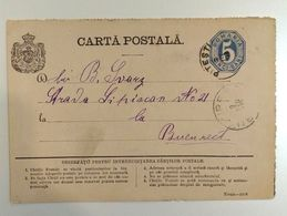 Romania 1879 5 Bani, Postal Stationary Reply Card From Pitesti To Bucharest - 1858-1880 Fürstentum Moldau