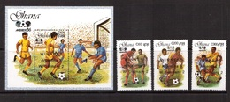 Ghana-1989(Mi.1270-1272,Bl.142) Football, Soccer, Fussball,calcio,MNH - Fußball-Weltmeisterschaft