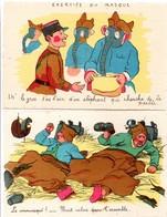 Illustrateur Drôle De Guerre 1939 : Soldats Avec Masque à Gaz éléphant Et Rats Dans Les Granges - 2 Cartes - Weltkrieg 1939-45