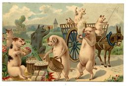 COCHONS.PIGS.AU MARCHé.ÂNE.CHARRETTE.                                                 . E.12 - Cochons