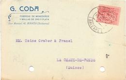 Espagne Carte De Mahon Timbre Perforé Perfin Lochun G Coda - 1889-1931 Royaume: Alphonse XIII