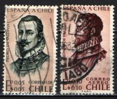 CILE - 1961 - RITRATTO DI PEDRO DE VALDIVIA E ALONSO DE ERCILLA - USATI - Cile