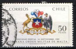 CILE - 1983 - PRIMO ANNIVERSARIO DELL'ACCORDO POSTALE CON SOVRANO ORDINE DI MALTA - USATO - Cile