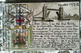 CPA ANGLETERRE GAUFREE - GRUSS AUS LONDON - Blason Illustration Tower Bridge 1902 - River Thames