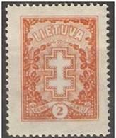 Lithuania - 1926 Protective Cross 2c  MH *  SG 275   Sc 210 - Lithuania