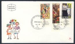Israel 1973 FDC + Mi 573 /5 YT 507 /9 SC 505 /7 - Purim - Children's Drawings / Purimfest - Kinderzeichnungen / Poerim - Israël