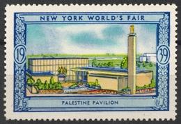 PALESTINE Building / Israel Park Tree Trees - 1939 New York World's Fair USA Charity Label Vignette Cinderella - JUDAICA - Universal Expositions