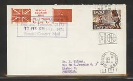GREAT BRITAIN GB 1971 POSTAL STRIKE MAIL SPECIAL COURIER MAIL 1ST ISSUE PRE-DECIMAL COVER TO LISBON PORTUGAL 11 FEBRUARY - Variétés Et Curiosités
