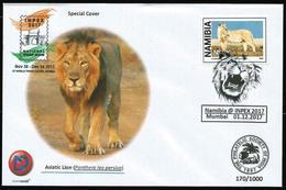 India 2017 Inpex Mumbai Stamp Exhibition, Namibia Special Postmark, Lion, Inde, Indien - Félins