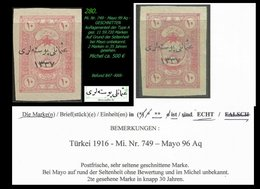 EARLY OTTOMAN SPECIALIZED FOR SPECIALIST, SEE...Mi. Nr. 749 - Mayo 99 Aq - Ungezähnt -RRR- - 1920-21 Anatolie