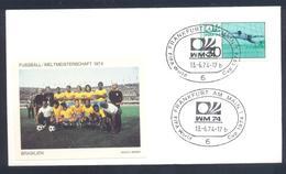 Germany 1974 Cover: Football Fussball Soccer Calcio Futbol: FIFA World Cup; Brasil Brazil Team Label - Coupe Du Monde
