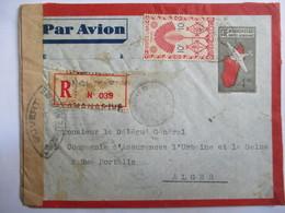 MADAGASCAR - Tananarive  - Entier Postal Recommandé Avec Complément D'Affranchissement - Censure Miilitaire - 1945 - Madagaskar (1889-1960)