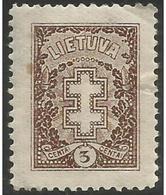 Lithuania - 1927 Lithuanian Cross 5c  MH *  Sc 211 - Lithuania
