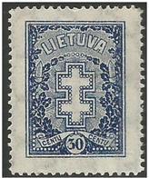 Lithuania - 1929 Lithuanian Cross 30c  MH *   Sc 239 - Lithuania