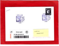 Cérès 0.88 € ND + Sticker, Lettre Suivie, Obl 14/03/19, 1er Jour 170 Ans Du Premier Timbre De France 1849/2019 - Oblitérés
